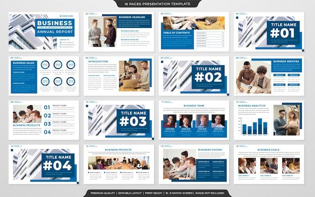Satz von layout-vorlagen für unternehmenspräsentationen mit minimalistischem stil