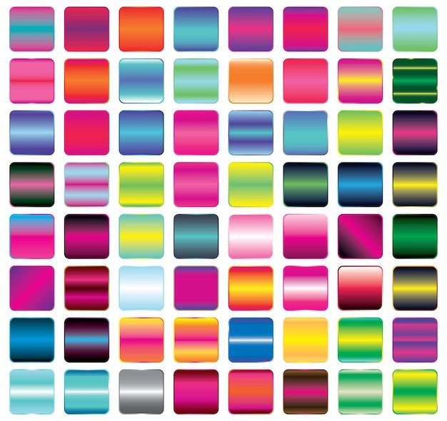 Satz von lebendigen farbverlauf-button-icons für ihr design. vektor-illustration. knöpfe mit metall- und neoneffekt. leere quadrate.