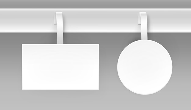 Satz von leeren weißen quadratischen runden ovalen papper kunststoff werbung preis wobbler vorderansicht isoliert auf hintergrund