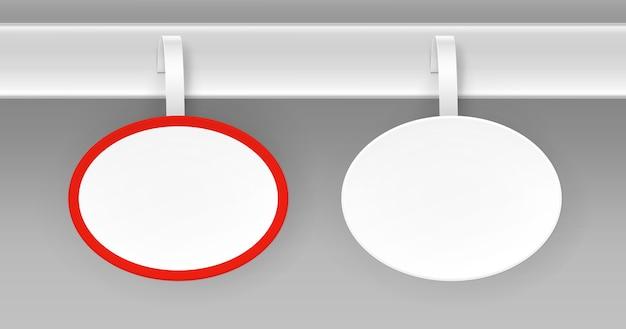 Satz von leeren weißen runden ovalen papper kunststoff werbung preis wobbler vorderansicht auf hintergrund