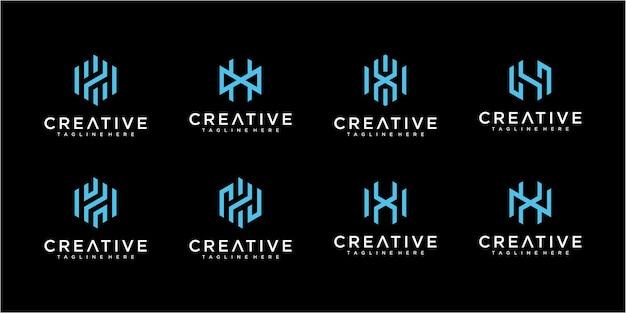 Satz von letter h-logo-sammlungen. monogramm logo design kollektion
