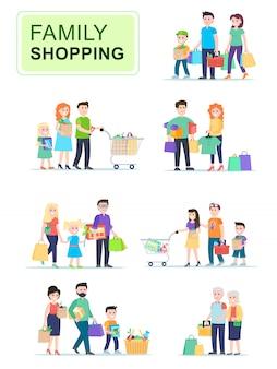 Satz von leuten, die einkaufstaschen mit käufen tragen.