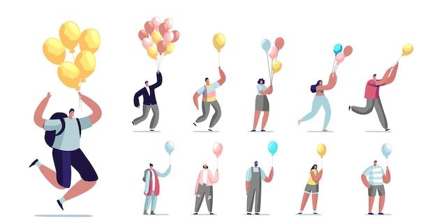 Satz von leuten, die mit luftballon fliegen. männliche und weibliche charaktere karrierewachstum und flucht aus der krise