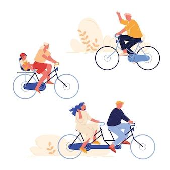 Satz von leuten, die sport- und freizeitaktivitäten radeln