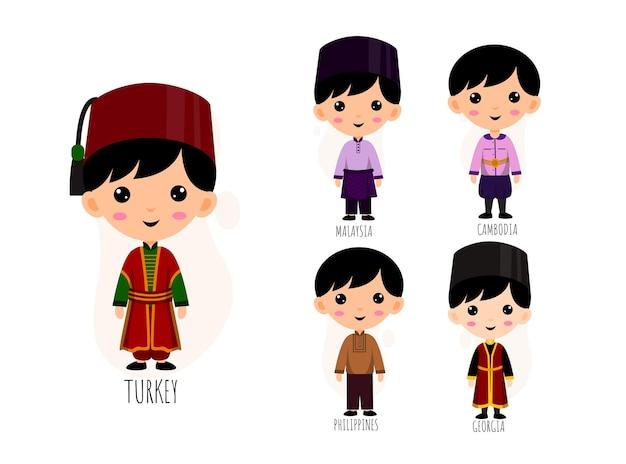 Satz von leuten in den karikaturfiguren der traditionellen asiatischen kleidung, männliches nationales kostüm-sammlungskonzept, isolierte flache illustration