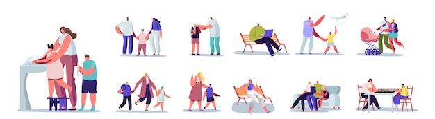 Satz von leuten mit kindern. männliche und weibliche charaktere der eltern verbringen zeit mit ihren kindern. mutter, vater, sohn oder tochter happy family lifestyle, neugeborenes, kleinkinder. cartoon-vektor-illustration