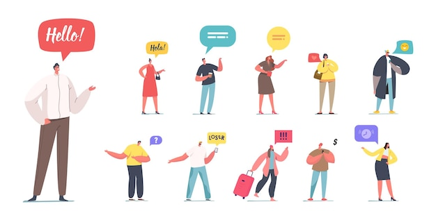 Satz von leuten mit sprechfahnen. männliche und weibliche charaktere mit verschiedenen sprechblasen oder wolken hola, looser und red heart mit uhren auf weißem hintergrund. cartoon-vektor-illustration