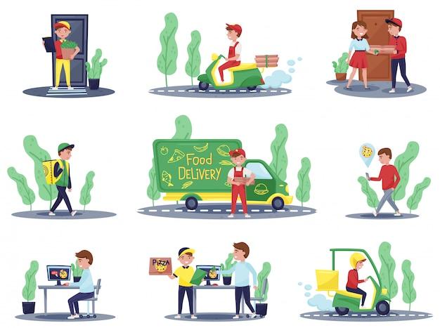 Satz von lieferarbeitern und kunden. kurier-roller. kerl hält tasche mit bestellung. nahrungsmittelservice