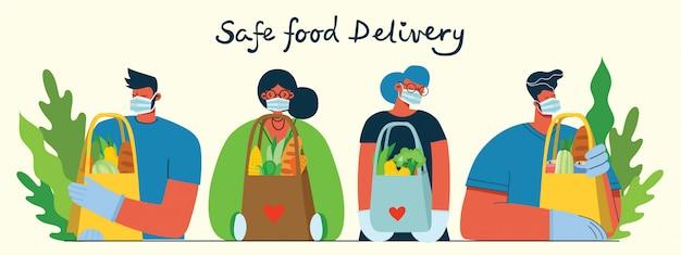 Satz von lieferservice-arbeitern, männern und frauen, menschen liefern lebensmittel, mahlzeiten und waren. illustration des sicheren warenlieferkonzepts.