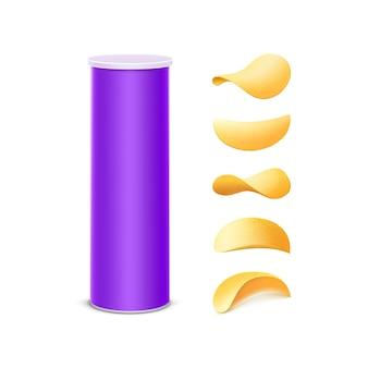 Satz von lila zinn-kasten-behälter-röhre für verpackungs-design mit kartoffel-knusprigen chips von verschiedenen formen nahaufnahme lokalisiert auf weißem hintergrund