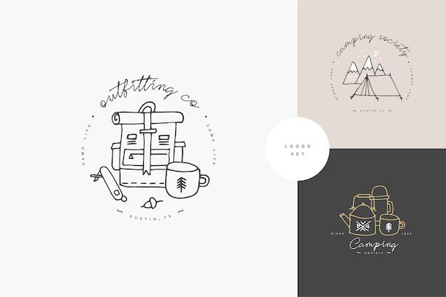 Satz von linearen camping- und wanderikonen oder -logos. reiseemblem oder rundes abzeichen mit reisendem personal.