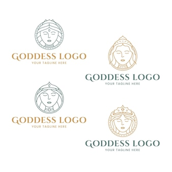 Satz von linearen göttin-logo-vorlagen