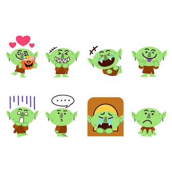 Satz von little goblin monster character