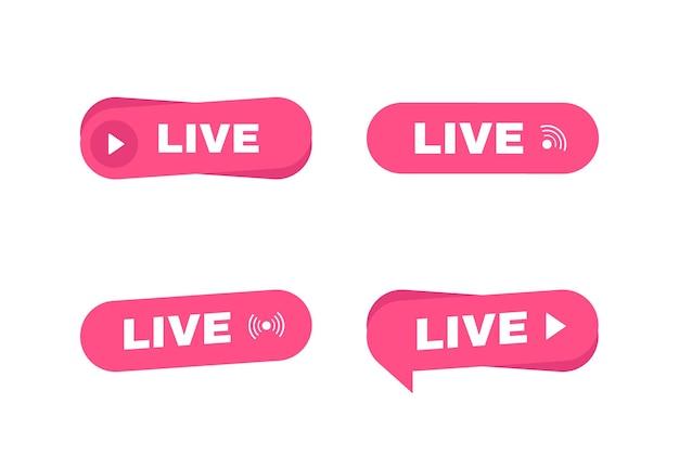 Satz von live-streaming-label. button für live-streaming, broadcasting, online-stream.