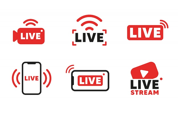 Satz von live-streaming-symbolen und videoübertragung. smartphone-bildschirm für online-übertragung, streaming-service.