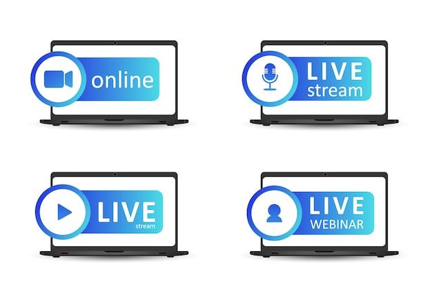 Satz von live-streaming-symbolen. verlaufssymbole und schaltflächen für live-streaming, übertragung und online-webinar. label für tv, shows, filme und live-auftritte. flache illustration des vektors. eps10.