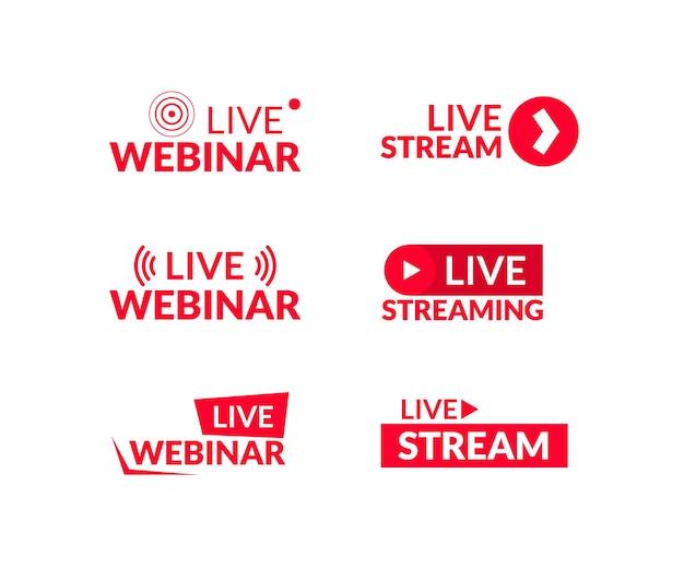 Satz von live-streaming- und live-webinar-zeichen