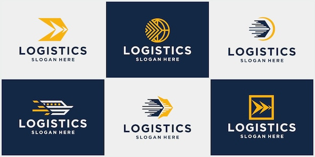 Satz von logistik-speditionslogos firmenlogistiklogos pfeilsymbole versandsymbole