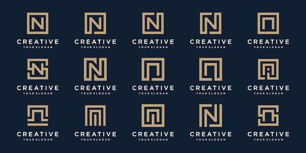 Satz von logo-buchstaben n mit quadratischem stil. vorlage