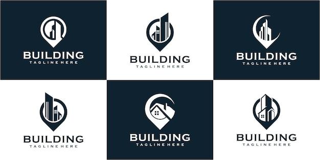 Satz von logo-design für gebäudestandorte mit pin-konzept. gebäudelogosammlung