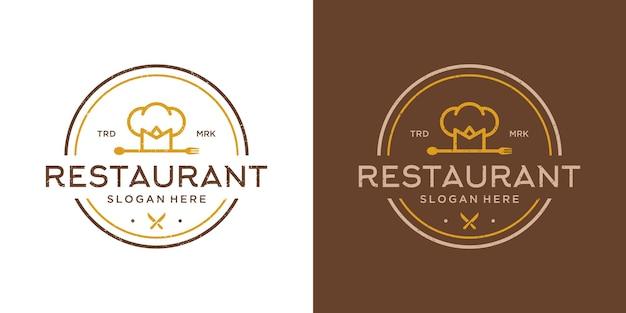 Satz von logo-design-vorlage für das kochen von speisen.