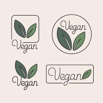 Satz von logo-design-vorlagen und abzeichen im trendigen linearen stil mit grünen blättern
