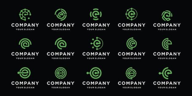 Satz von logo-designs für die technologie des buchstaben e