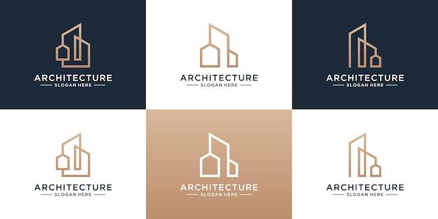 Satz von logo-vorlage für gebäudearchitektur. minimalistische immobilien mit einzigartiger logo-sammlung im line-art-stil.