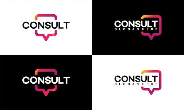 Satz von logo-vorlagenentwürfen der modernen gradient consulting agency