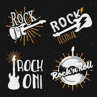 Satz von logos mit rockmotiven, symbolen, abzeichen, etiketten, schildern mit designelementen: e-gitarre, beleuchtung, sunburst, schallplatte. rock on, rock it!