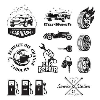 Satz von logos und symbolen in bezug auf das auto der tankstelle: ölwechsel, waschen und polieren des autos, reparatur, reifenwechsel, auftanken von benzin, gas und strom