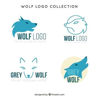 Satz von logos von blauen wölfen