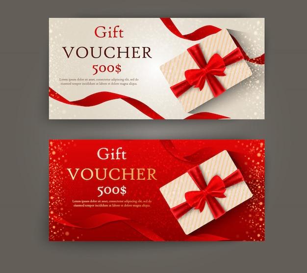 Satz von luxus-geschenkgutscheinen mit bändern und geschenkbox. elegante vorlage für eine festliche geschenkkarte, gutschein und zertifikat.