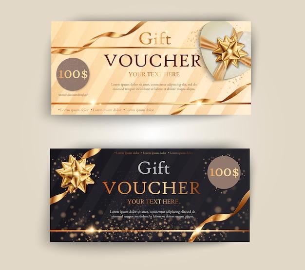 Satz von luxus-geschenkgutscheinen mit bändern und geschenkbox.