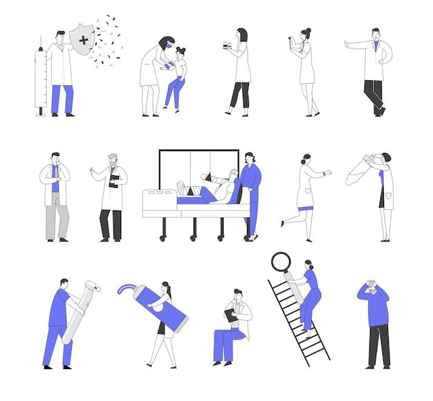Satz von männlichen und weiblichen ärzten und patientencharakteren im krankenhaus
