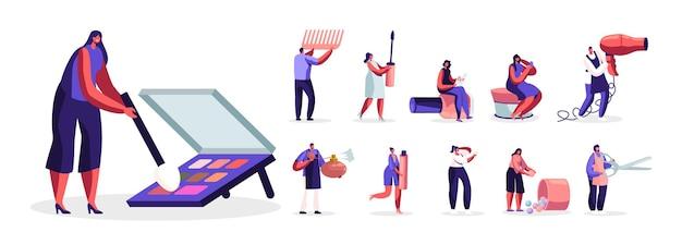 Satz von männlichen und weiblichen charakteren, die hautpflegeprodukte testen und im schönheitssalon arbeiten. männer und frauen in kosmetiksalon gesichtspflege und schönheit isoliert auf weißem hintergrund. cartoon-menschen-illustration