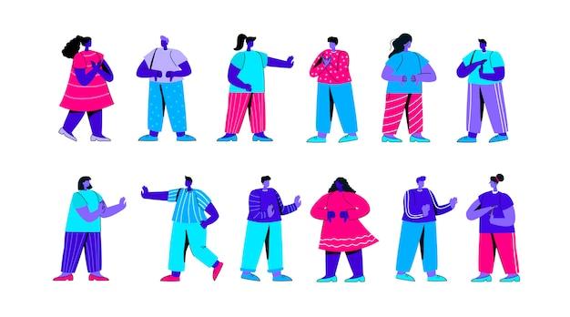 Satz von männlichen und weiblichen charakteren, die negative gesten flachblauer personencharakter zeigen