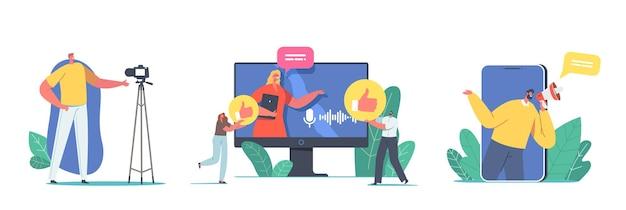 Satz von männlichen und weiblichen charakteren vlogger, die video-vlog, internet-live-stream, rundfunk in sozialen netzwerken für follower auf weißem hintergrund aufzeichnen. cartoon-menschen-vektor-illustration