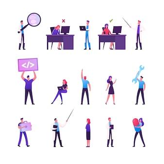 Satz von männlichen und weiblichen geschäftscharakteren, die im büro arbeiten, das am schreibtisch in der falschen und korrekten haltung sitzt