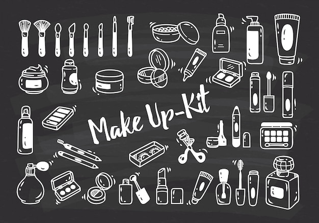 Satz von make-up-kit gekritzel