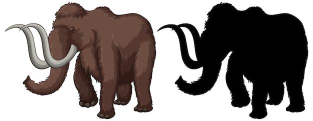 Satz von mammutcharakteren und seiner silhouette auf weiß