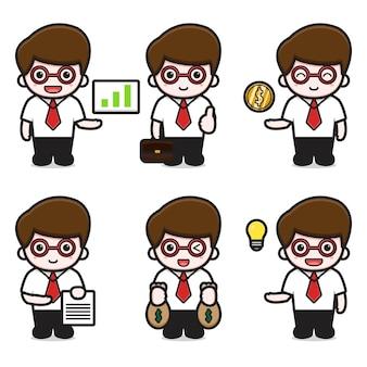 Satz von mann-charakter-business-thema-cartoon-vektor-symbol-illustration. geschäftsikonenkonzept lokalisierter vektor. flacher cartoon-stil
