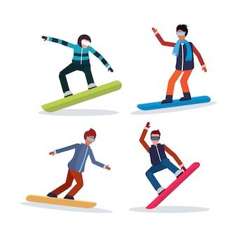 Satz von mann snowboarden