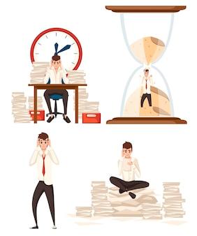 Satz von mannüberarbeitung im büro arbeitete überstundenstress der arbeitsflache illustration