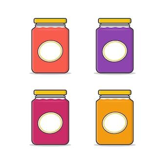 Satz von marmeladengläsern mit der bezeichnung vektor icon illustration. glas marmelade flach symbol