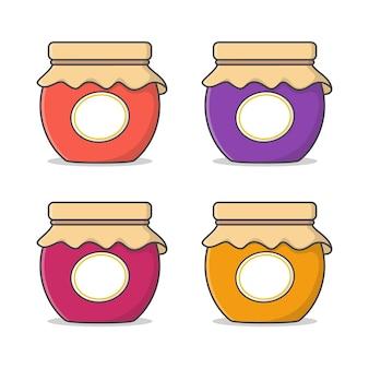 Satz von marmeladengläsern mit der bezeichnung vektor icon illustration. jar of marmelade thema flaches symbol