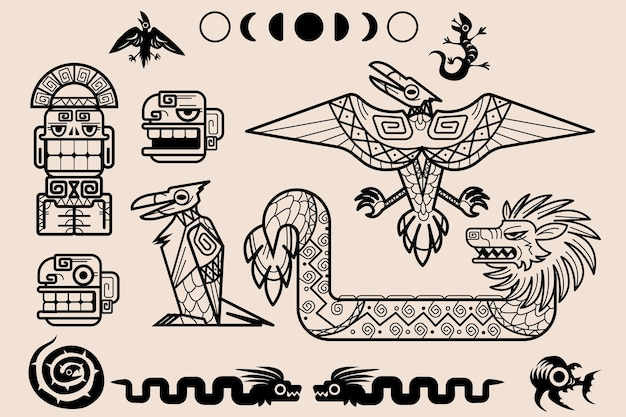 Satz von maya- oder aztekenmustern stammes-dekorationselementen