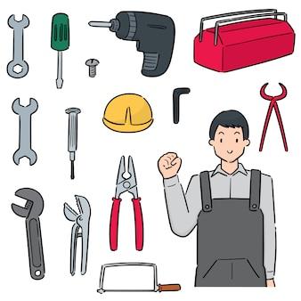Satz von mechaniker und reparaturwerkzeug
