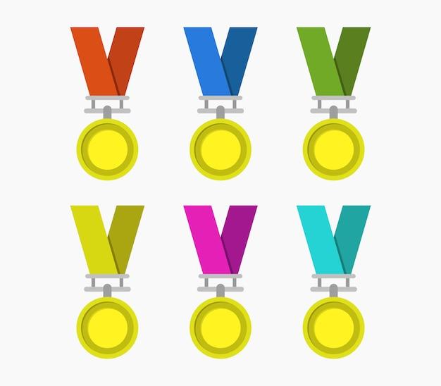 medaillen icons set isoliert  premiumvektor