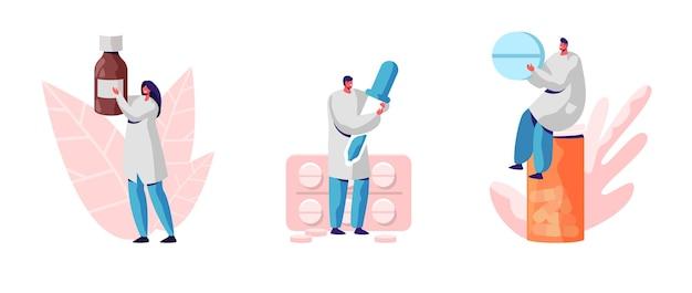 Satz von medizinern mit medikamenten, die auf weißem hintergrund isoliert werden. karikatur flache illustration